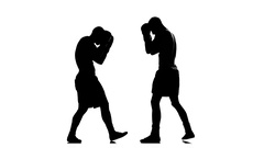 Coaching left hand blows. Silhouette of boxers Stock Footage