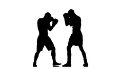 Kickboxers in black silhouette fulfill knee kick to the body Stock Footage