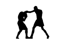 Two brawny athlete are boxing with each other. Silhouette Stock Footage