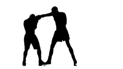 Knockout boxer. Black silhouette on a white background Stock Footage
