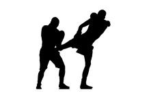 Black silhouette. Kickboxers are trained kicking the body Stock Footage