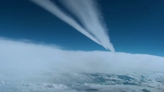 White traces of the planes in the sky Stock Footage
