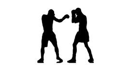 Boxer knocked down. Silhouette on white background Stock Footage
