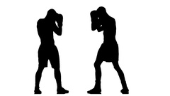 Fight two champions boxers. Silhouette of man on white background Stock Footage