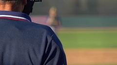 The umpire at a baseball game makes a call. Stock Footage