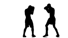 Two boxers miss it is impossible to hit the opponent Stock Footage