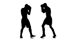 Two man silhouette athletes fight. Boxing. Punched gloves. Slow motion Stock Footage