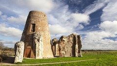 St Benets Abbey ruins (pan right) Stock Footage