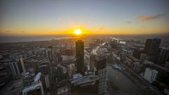 Aerial view of Melbourne cityscape during sunset Stock Footage