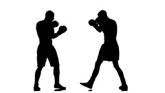 Blows to the head, two men boxers sparring. Slow motion Stock Footage