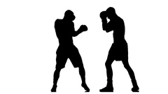 Coaching kick a turn of the body. Silhouette of boxers Stock Footage