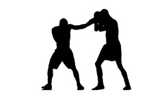 Boxer knocked down. Silhouette Stock Footage