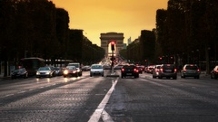 Paris Champs Elysee and LArc de Triomphe in time lapse Stock Footage