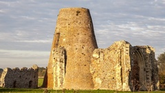 St Benets Abbey ruins (evening, slow pan) Stock Footage