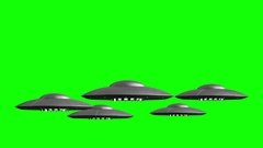 3d rendered animation of flying saucers on green screen Stock Footage