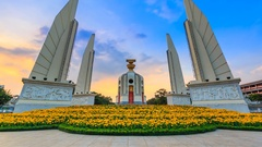 Democracy Monument Of Thailand 4K Day to Night Time Lapse (tilt up) Stock Footage
