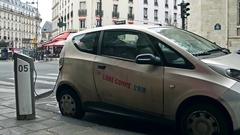 PARIS, FRANCE - DECEMBER, 31, 2016. Carsharing Autolib electric cars being Stock Footage