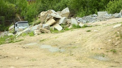 Loaded Truck in the quarry Stock Footage