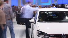 People on Car Exhibition in time lapse Stock Footage