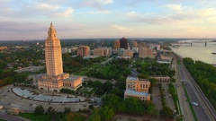 Dolly into Baton Rouge skyline past Louisiana State Capitol Stock Footage