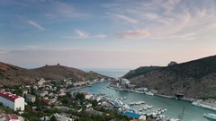 Balaklava bay view from above at sunset. Crimea. Russia Stock Footage