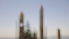 Native Japanese wooden totem poles with bear figure at Burnaby Mountain Park Stock Footage