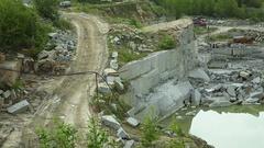Quarry mining granite Stock Footage