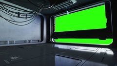 Futuristic space corridor, tunnel. flight view. Green screen footage. Cinematic  Stock Footage