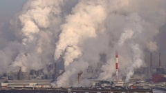 Air Pollution Emissions of a Large Factory Smoke Stock Footage