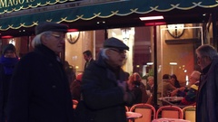 PARIS, FRANCE - DECEMBER, 31, 2016. Famous Cafe Les Deux Magots in the evening Stock Footage