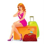 Woman sitting on a suitcase and waiting Stock Illustration