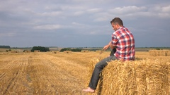 On the hay Stock Footage