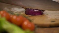 Chopping red Onion, Close-Up. Cutting onion Stock Footage