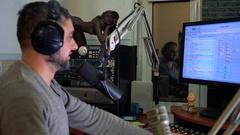Radio personality DJ on the air Stock Footage