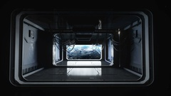 Futuristic space corridor, tunnel. flight view of the earth. Cinematic 4k Stock Footage