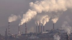 Pipes Industrial Enterprise Emit Smoke Air Pollution. Stock Footage