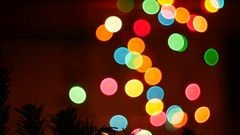 Star shape flashing light, light blinkers, night party in the garden Stock Footage