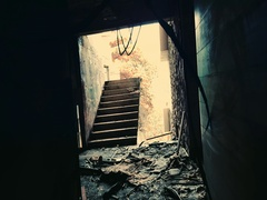 Exploring of abandoned place full of debris. Bad dream and nightmare scene Stock Footage