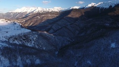 Aerial View. Flying over the mountain Aibga Krasnaya Polyana in Sochi. Stock Footage