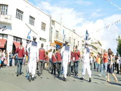 Ochi day in Cyprus Greece with students at parade Stock Footage