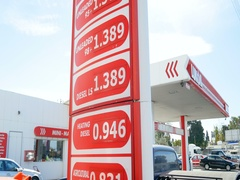 Modern Lukoil gas station with prices in Euro Stock Footage