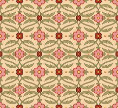 Antique seamless background of vintage garden pink flower curve cross leaf vi Stock Illustration
