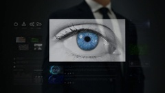 Businessman working on a futuristic holographic interface. Touchscreen. Stock Footage