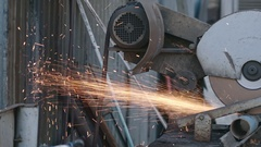 Operating Automatic Metal Grinder Stock Footage
