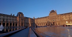 Tourists outside Louvre museum at sunset. Dolly camera movement. Stock Footage