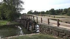 The bridge at North Bridge, site of the  Battle of Concord, Concord, MA, USA. Stock Footage