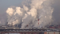 Mass Industrial Emissions of Smoke. Air Pollution. Stock Footage