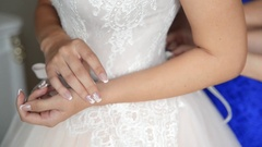 Woman preparing for wedding Stock Footage
