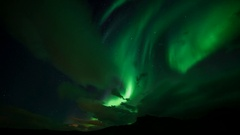 Aurora Borealis (Northern Lights) Dancing in The Sky in Western Iceland Stock Footage