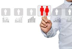 Networking and recruitment in Human resources,assessment center and social .. Stock Photos